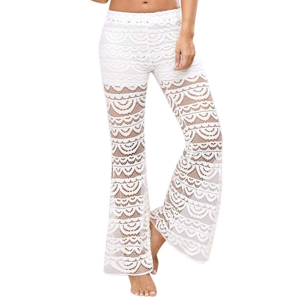 2a021c1cb6 Get Quotations · Paymenow Clearance Women Yoga Pants Flowy Lace Patchwork  Hem Elastic Waist Wide Leg Pants Split Fashion