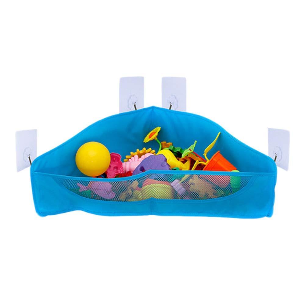Mesh Bath Toy Organizer, Bathtub Toys & Bathroom Storage Net Bag, Corner Shower Caddy Bag with 5 Strong Hooks for Kids, Toddlers & Baby (Blue)