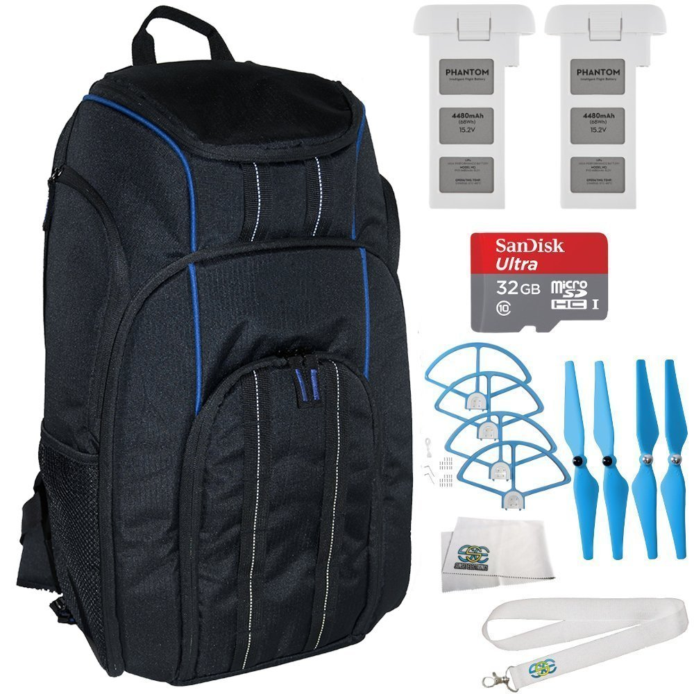 EVERYTHING YOU NEED KIT for DJI Phantom 3 4K, Standard, Professional, & Advanced. Includes Manfrotto BP-D1 DJI Professional Video Equipment Cases Drone Backpack + 2 DJI Flight Batteries + MORE