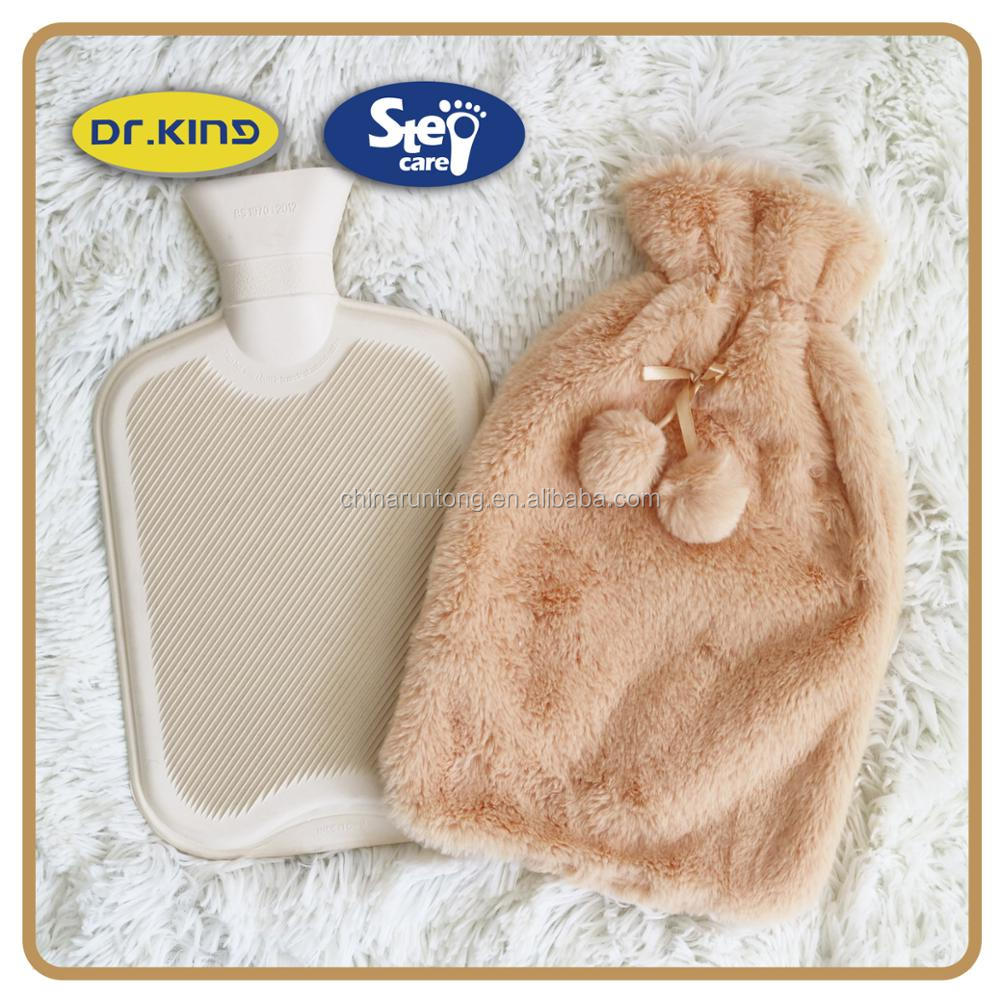 Luxury faux fur plush hot water bottle and cover