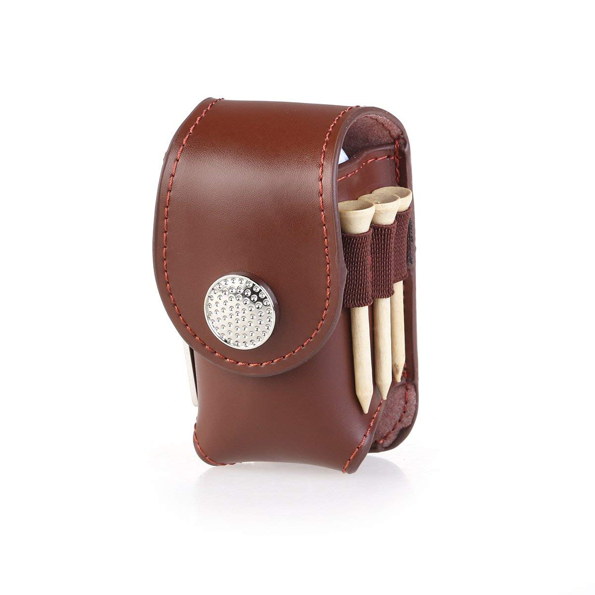 WINOMO Golf Tee Pouch Mini Portable Clip on Golf Ball Holder Pouch Bag Hold 2 Balls Golfer Aid Tool Gift (Brown)
