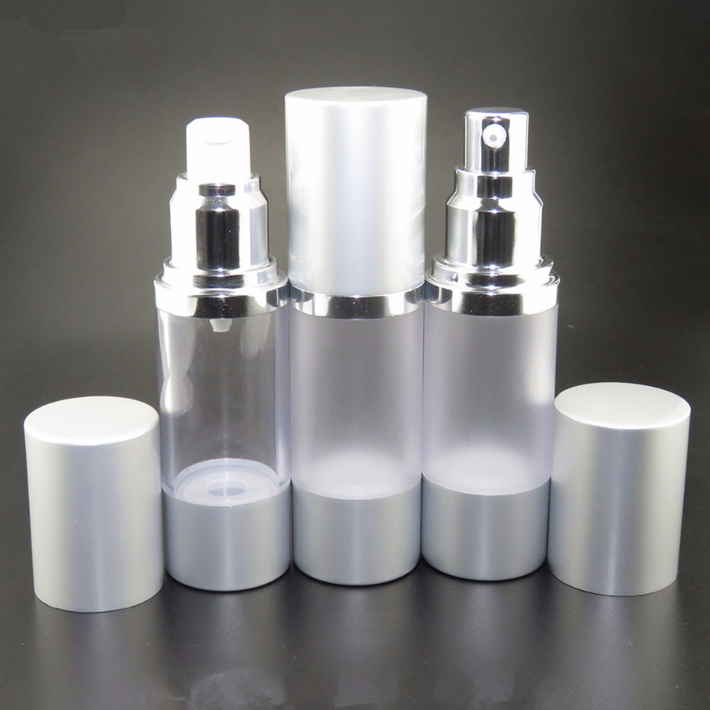 Wholesale silver gold 15ml 30ml 50ml airless bottle frosted dropper bottle cosmetic dropper bottle