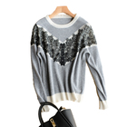 New style fashion design round neck long sleeve women's cashmere sweater with lace and beads