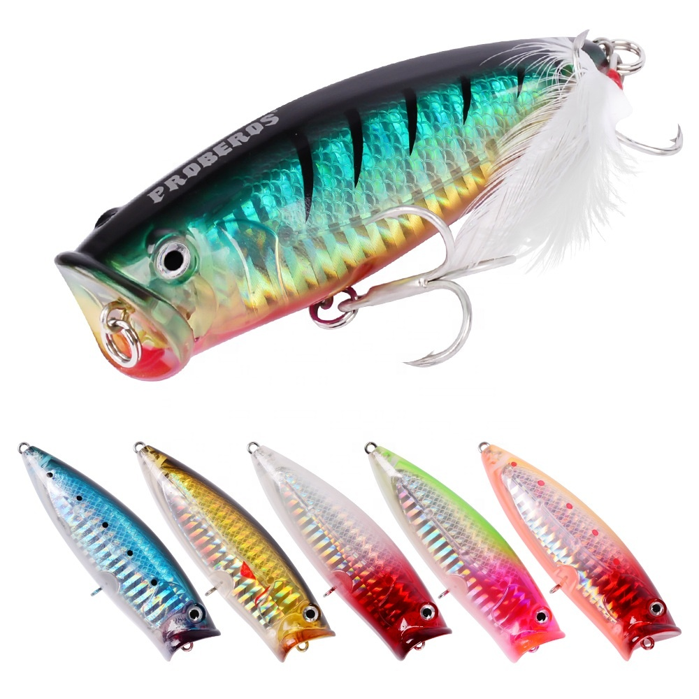 Plastic Popper Lure Floating Saltwater Hard Bass Bait Topwater Wobblers Artificial Fishing Tackle, 6 colors