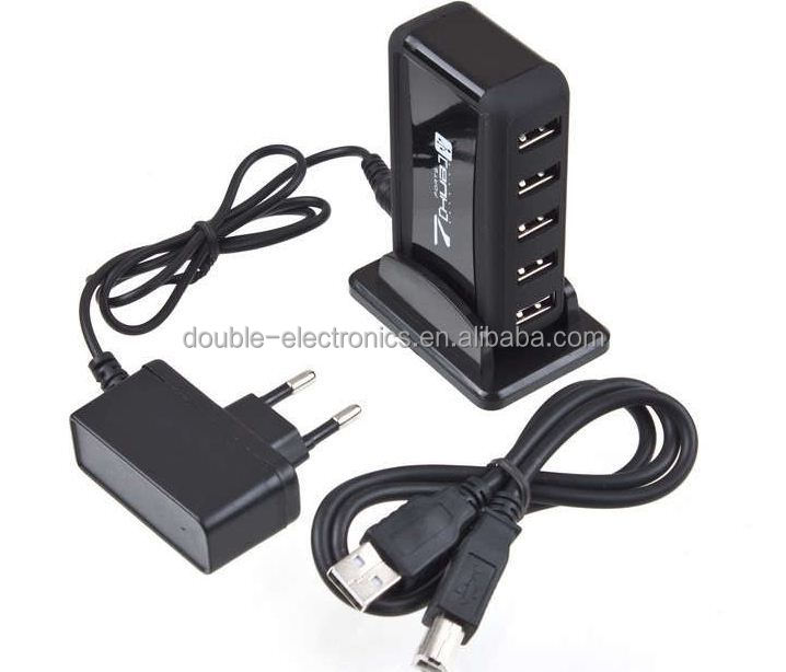 New USB 7 Port HUB Powered + AC Adapter Adaptor Cable Kable High-Speed EU Plug