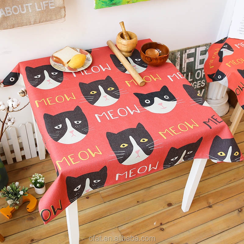 Black Cat Cloth Shop Counter Design Fabric Painting Wedding Table Cloth