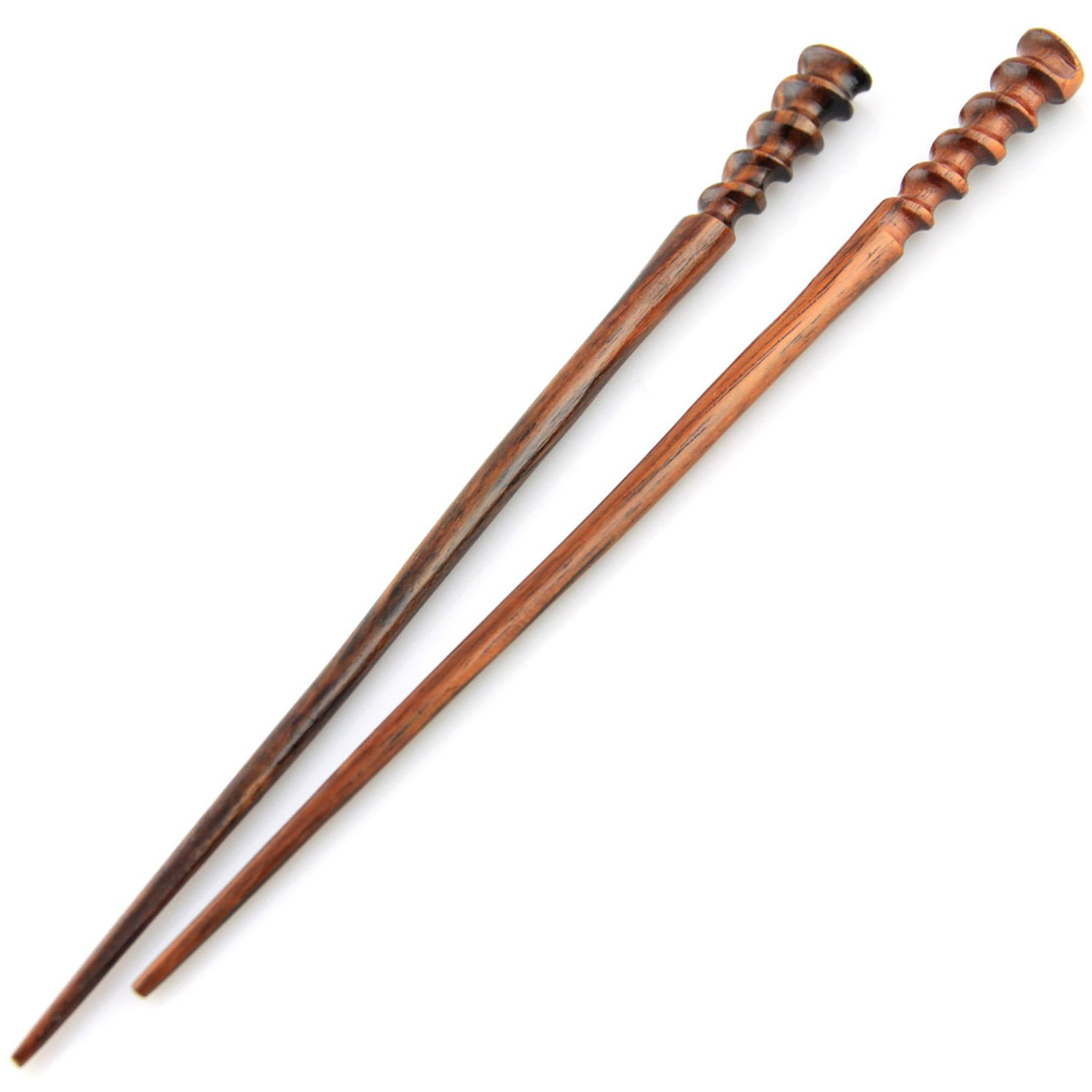 Evolatree Natural Hair Pin Chopsticks - Pair of Spiral Hair Sticks for Women and Men - Hand Carved Wood Styling Pin Set - Fine Cut Spiral - 7.5 Inches Long