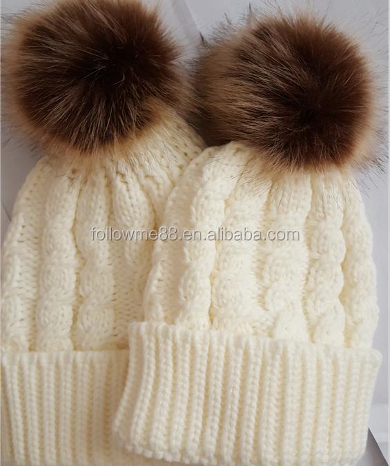 wholesale custom Women Mom Mother Baby Knit Pompom Bobble Hat Kids Girls  Boys Winter Warm Beanie 4fc69fca91fb