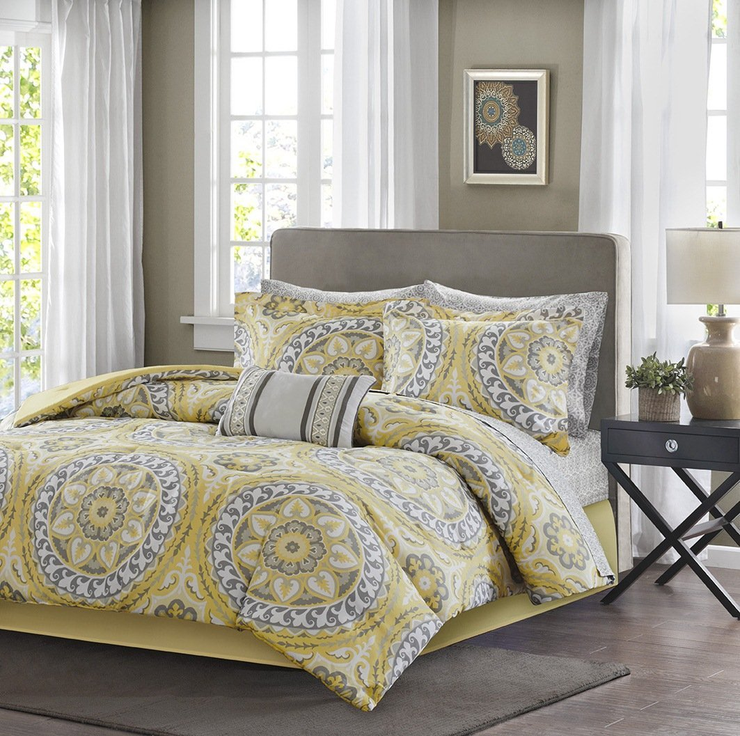 9 Piece Yellow Medallion Comforter Full Set, Beautiful All Over Bohemian Boho Chic Bedding, Multi Floral Paisley Mandala Motif Themed, Damask Flower Pattern Design, Grey Golden Light Gray