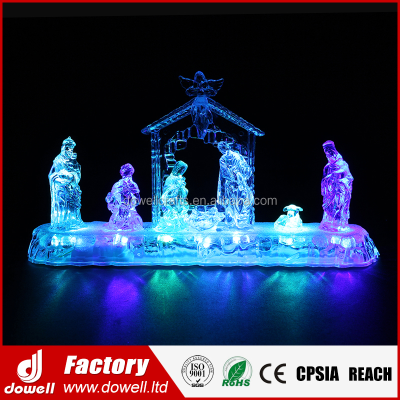 LED Lighted Plastic Perfect Gift Baby Jesus Stable Scene Figurine China Christmas Nativity for Navidad Decorations