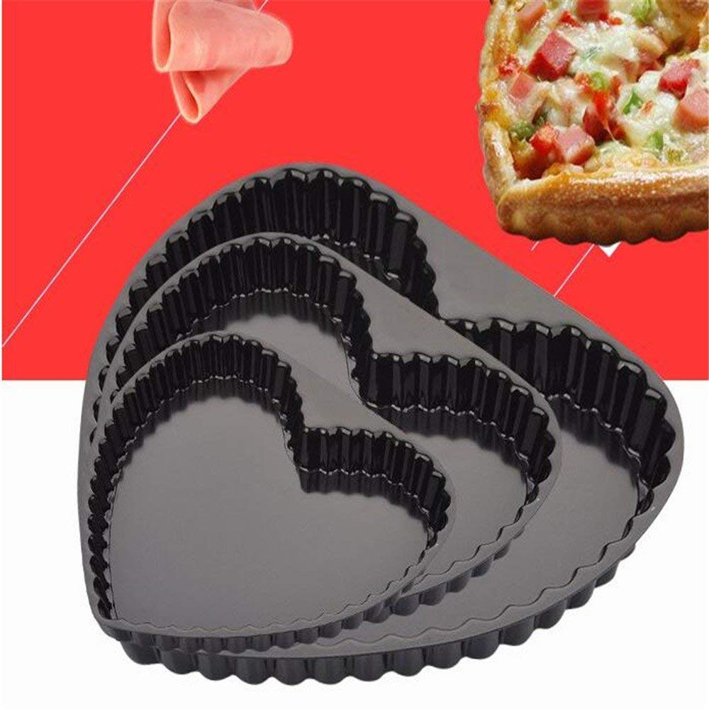 Baking mold round live non-stick chrysanthemum send fixed bottom pizza tray heart-shaped lace non-stick baking tray,8in,solid