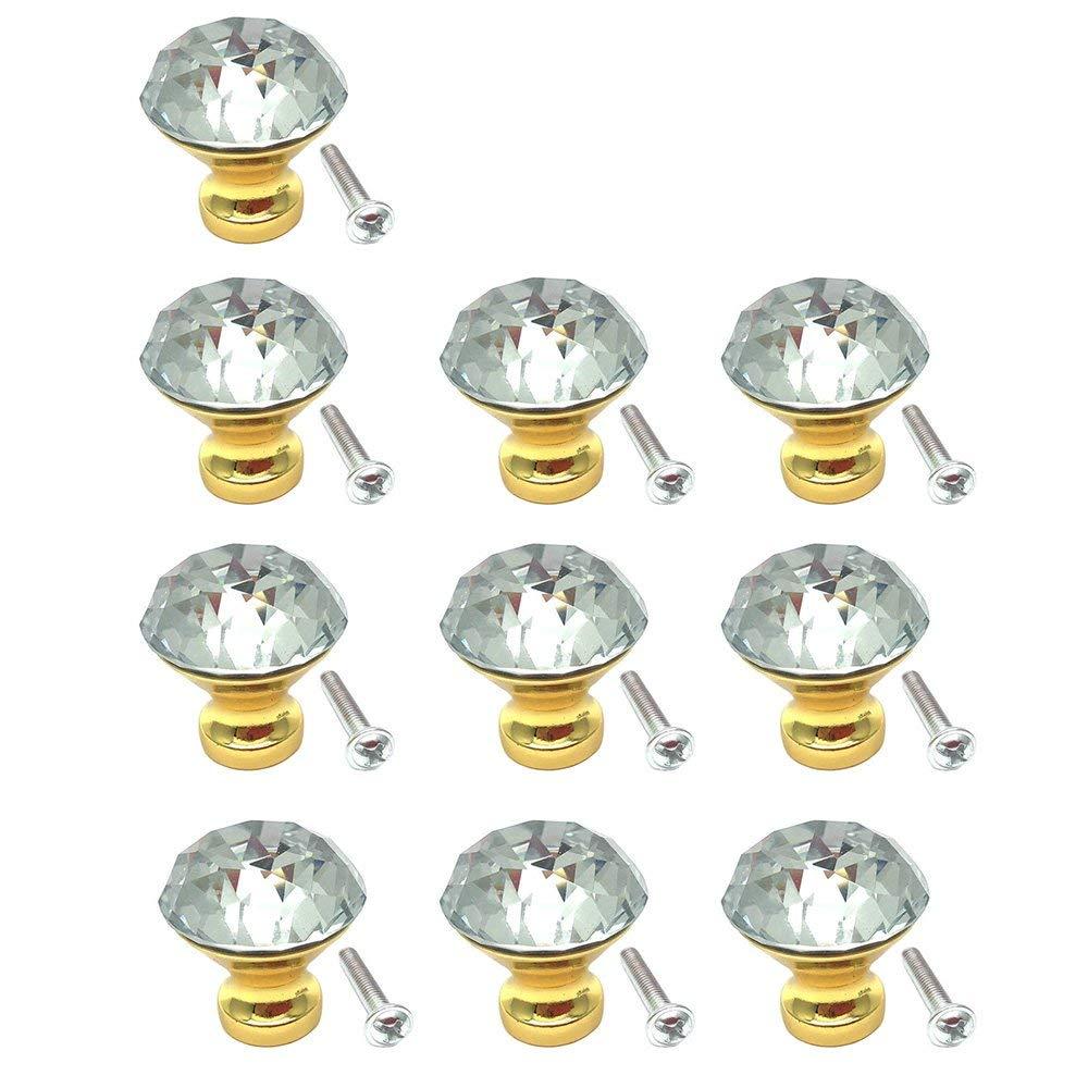 BTMB 10 Pcs Dia 30mm/1.2 inch Diamond Crystal Glass Cabinet Knob Drawer Pull Handle Wardrobe Door Knobs,Gold