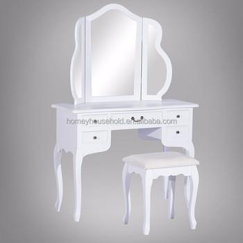 Wonderlijk Deluxe Wit Meisje Make-up Tafel Spiegel Houten Kaptafel - Buy Hoge TS-43