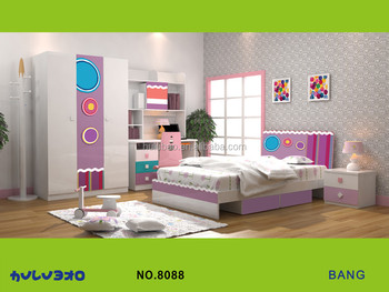 Little Girl Bedroom Furniture Set,Colorful Wardrobe,Bed,Nightstand,Book  Case And Study Desk. - Buy Children Furniture,Study Desk.,Bedroom Furniture  ...