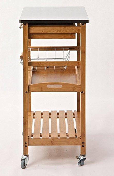 3 tier low price wood hand kitchen platform trolley 5