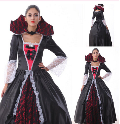 2015 Free shipping Queen Of The Vampires costume adult halloween witch costumes for women sexy cosplay dress fantasy dress