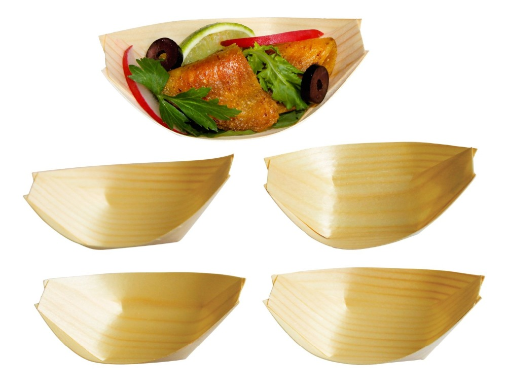 Eco-friendly pine wood boat shape japanese food serving plate