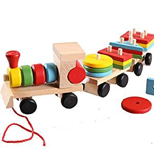 Wooden Stacking Block Pull Along Train Stacker Stacking Puzzle Train for Educational Development Baby Kids Toy