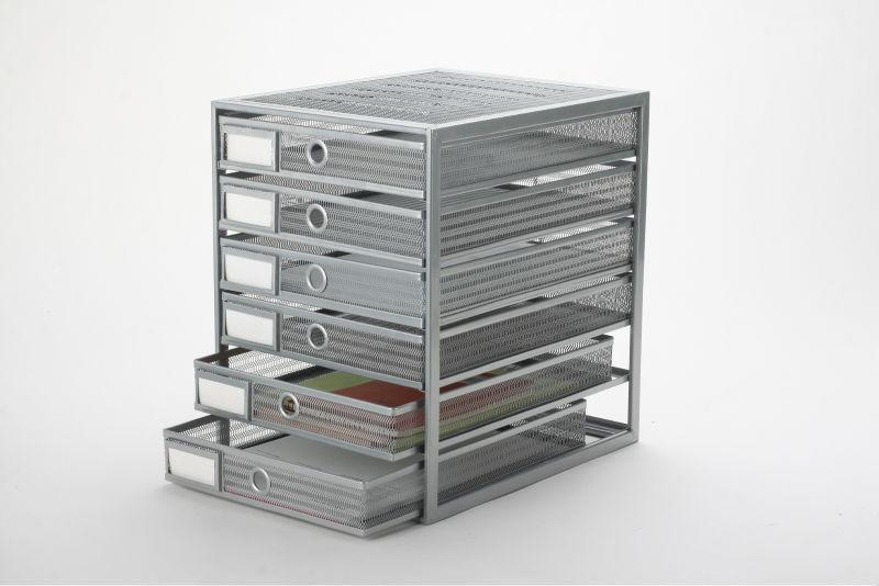 Haute qualité metal mesh bureau 6 tiroir niveaux organisateur-Tiroir ...