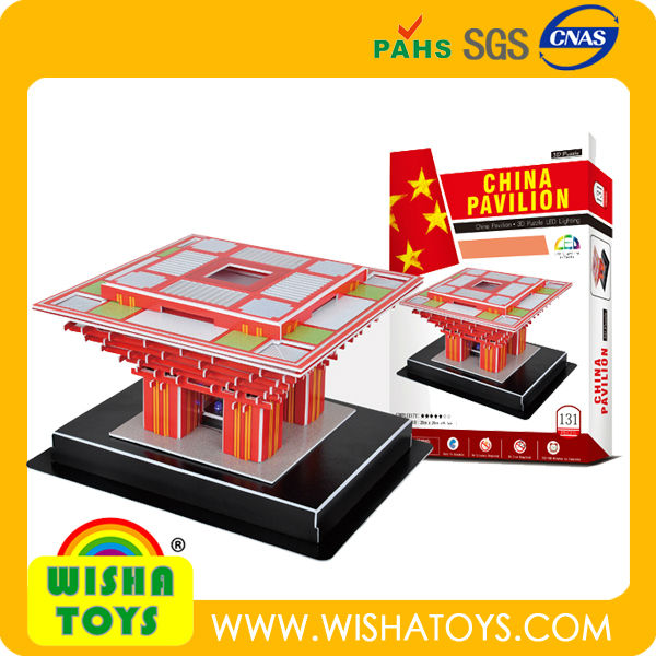 architecture-China Pivilion world famous building 3d paper puzzle for kids toys education