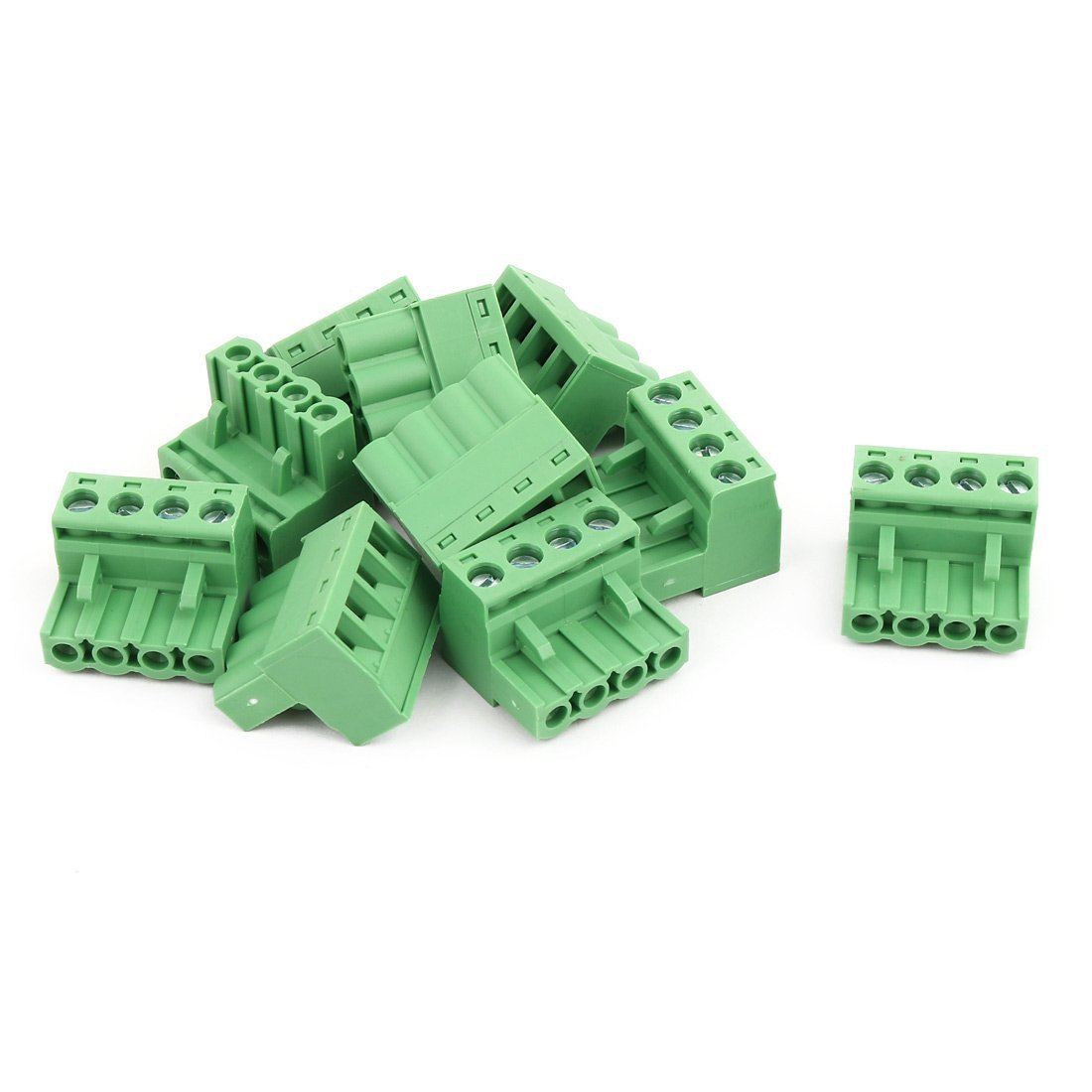 uxcell 10Pcs AC300V 15A 5.08mm Pitch 4P Terminals Block Wire Connection for PCB Mounting