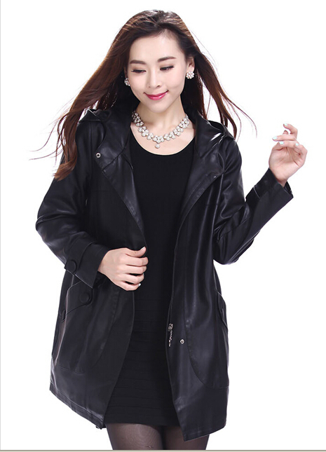 Free Shipping OL jacket leather women 2015 leather clothing laides female Leather coat slim outerwear women long leather jacket