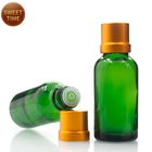 green glass 30ml essential oil bottle with metal dropper cap