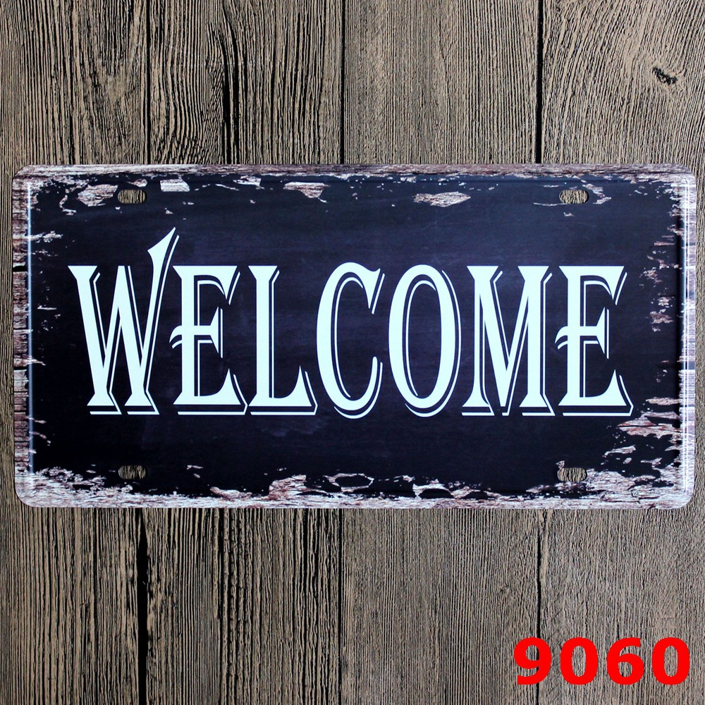 Metal Signs For Home Decor: WELCOME-Tin-Signs-Wall-Sticker-Home-Decor-Metal-Paintings