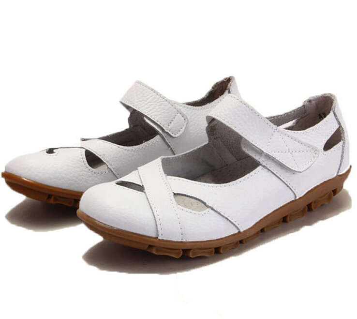 2dd786a0f907a Buy New summer women genuine leather slides Velcro female sandals flat  sandals comfortable ladies sandalias fashion sandals in Cheap Price on  m.alibaba.com