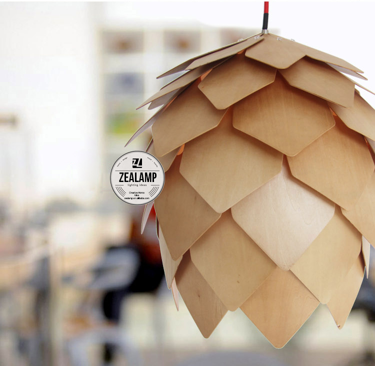 Modern Artichoke Lighting Crimean Pine Cone Wooden Pendant Lamp