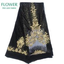 Королевская Синяя Высококачественная кружевная ткань с блестками, вышитая гипюровая кружевная сетчатая африканская свадебная одежда, сет...(Китай)