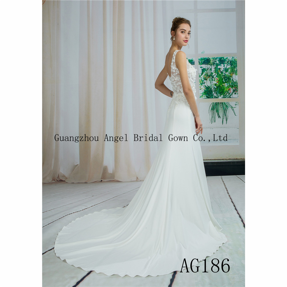 Guangzhou trouwjurk 3D bloemen V back lace wedding gown
