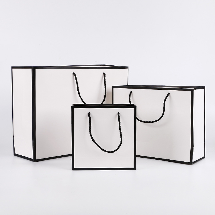 Luxury Black White Paper Bag Gift Custom Printed Shopping Bag