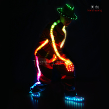 LED Luminosi Costumi Per L'hip-Hop Via e di Danza, Black & Red Programmabile <span class=keywords><strong>Unitards</strong></span> per Bambini e ragazzi