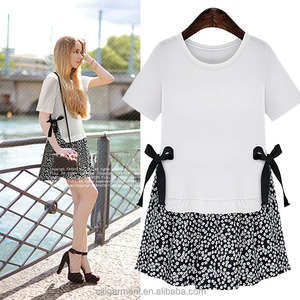 European Style New Products Latest Dress Designs Fashion Casual Fitting Point Splicing Short Sleeve Girl Dress