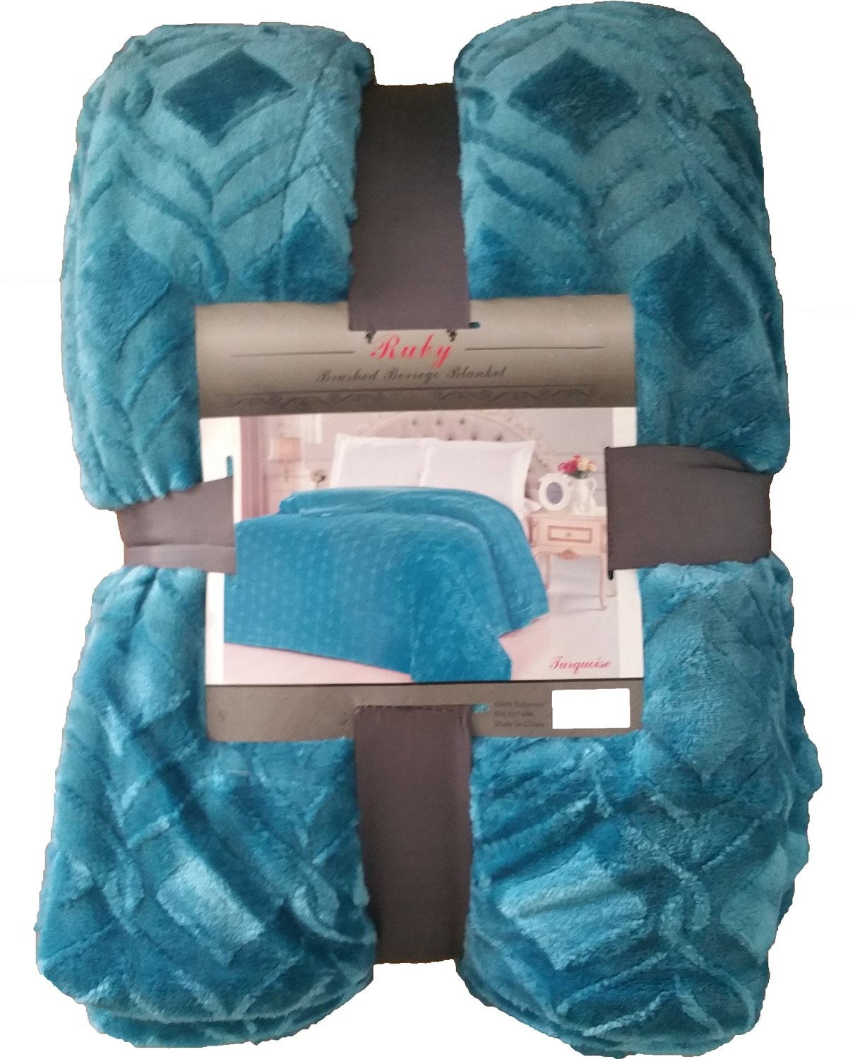 Fancy Collection Queen/king Size Embossed Blanket Sumptuously Soft Plush Solid Turqouise with Sherpa Revirsable Winter Blankets Bedspread Super Soft New