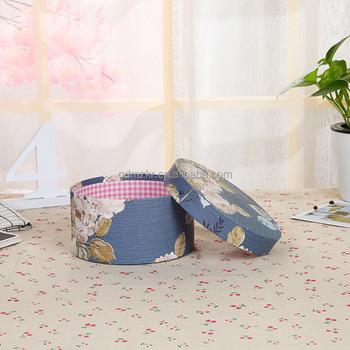 Custom Design Blue Flower Vases Cardboard Gift Hat Box With Lid Rope
