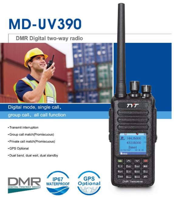 TYT 2019 new DMR VHF+UHF dual band cheap radio MD-UV390