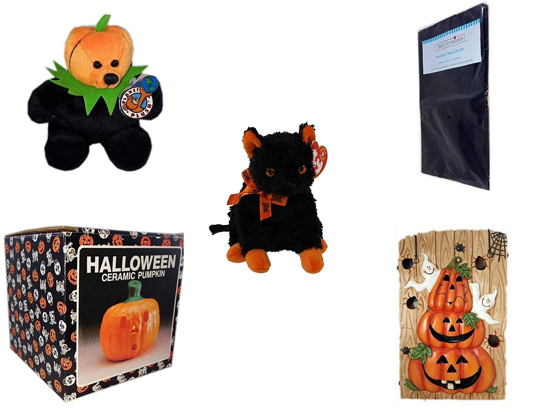 "Halloween Fun Gift Bundle [5 piece] - Jacko The Halloween Beanie Bear Limited Edition Collectible 7"" - Black Plastic Table Cover Halloween - Ty Beanie Baby""Fraidy"" The Black & Orange Cat - Halloween"