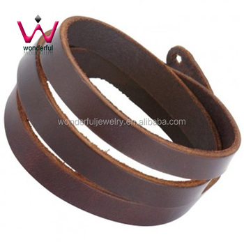 Trendy Mens Brown Hoops Leather Bracelet Buckle Wrist Cuff Product On