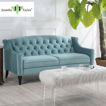 Living Room Furniture Subtle Tufted Velvet Elegant Green Fabric Chesterfield  Sofa