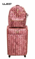 Snake skin pu luggage trolley bag travel suitcase fashionable luggage carry on suitable real button trolley 4 wheels