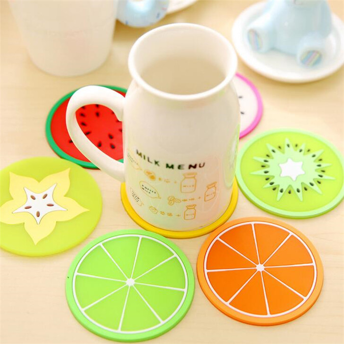 Waterproof silicone cup mat/ colorful fruit Skidproof Silicone Cup Coaster kitchen mats