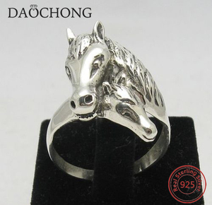 sterling silver jewelry horse wedding ring with 925 stamped