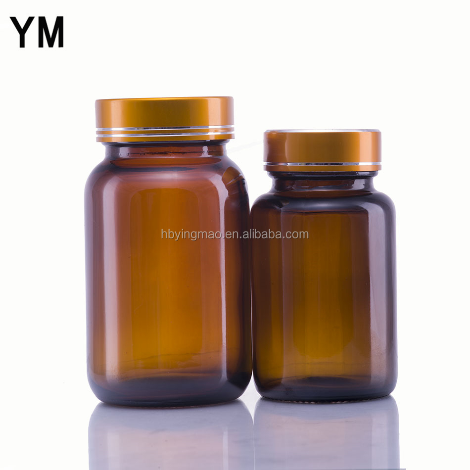 YM 60ml 75ml 100ml 120ml 150ml 200ml 300ml amber wide mouth glass medical pill bottle with shine gold aluminum cap