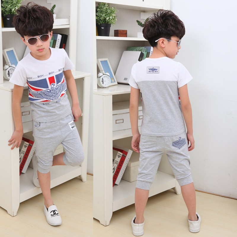 2016 Hot Sale Summer Style Cotton Children Clothing Sets Short Sleeve Baby Boy Clothes New Costumn For Kids Sport Suit