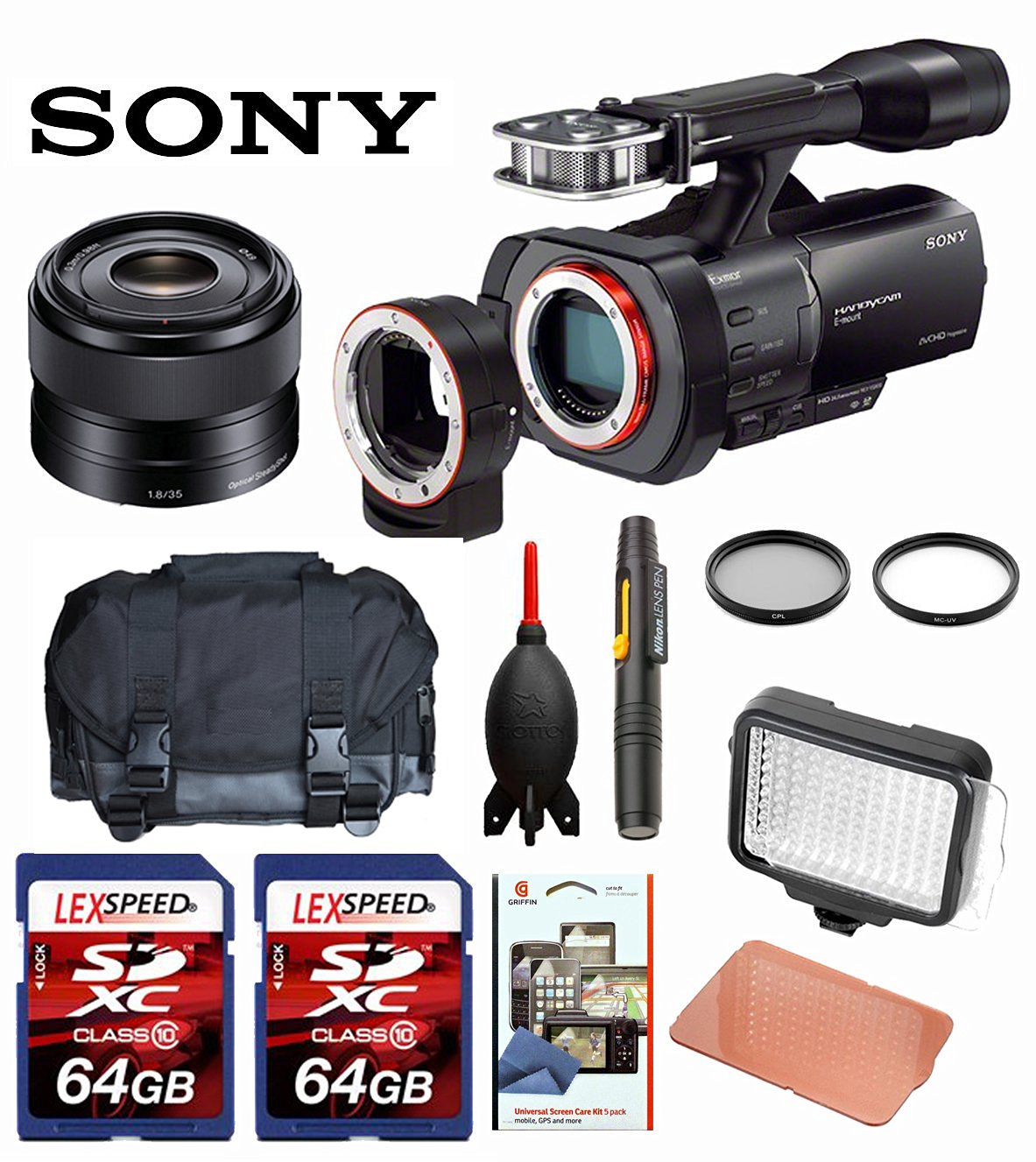 Sony NEX-VG900 Full-Frame Camcorder (Black) + Sony 50mm f/1.8 Mid-Range Lens + Case + LED 160 + Two 64GB Memory Cards