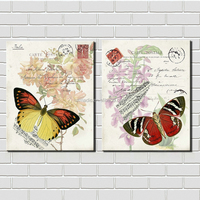 Fabric Painting Designs Images Abstract Flowers and Butterflies Oil Painting Printed for Living Room Decoration