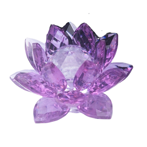 Wholesale Quartz amethyst cluster wedding Crystal Lotus Flower Candle Holder for Home  Decoration