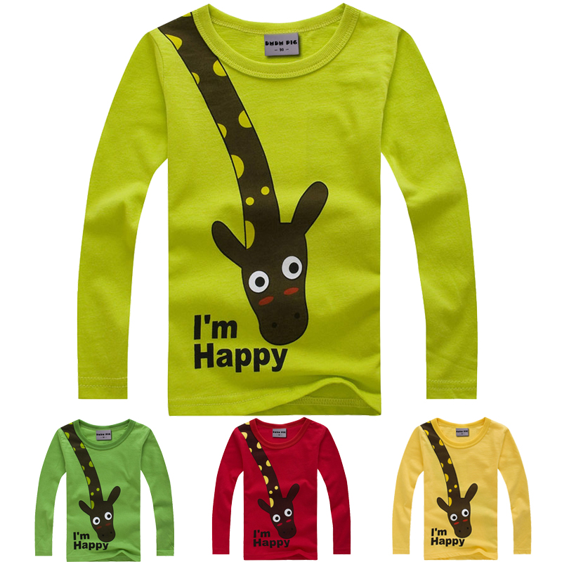 New Long Sleeve Giraffe I m Happy Kids Boys T shirt Top Long Sleeve Clothing casual